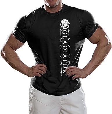 DesignDivil - Camiseta de algodón para Entrenamiento, diseño de Gladiador Espartano, Color Negro Gimnasio Fitness Peso Entrenamiento: Amazon.es: Ropa y accesorios