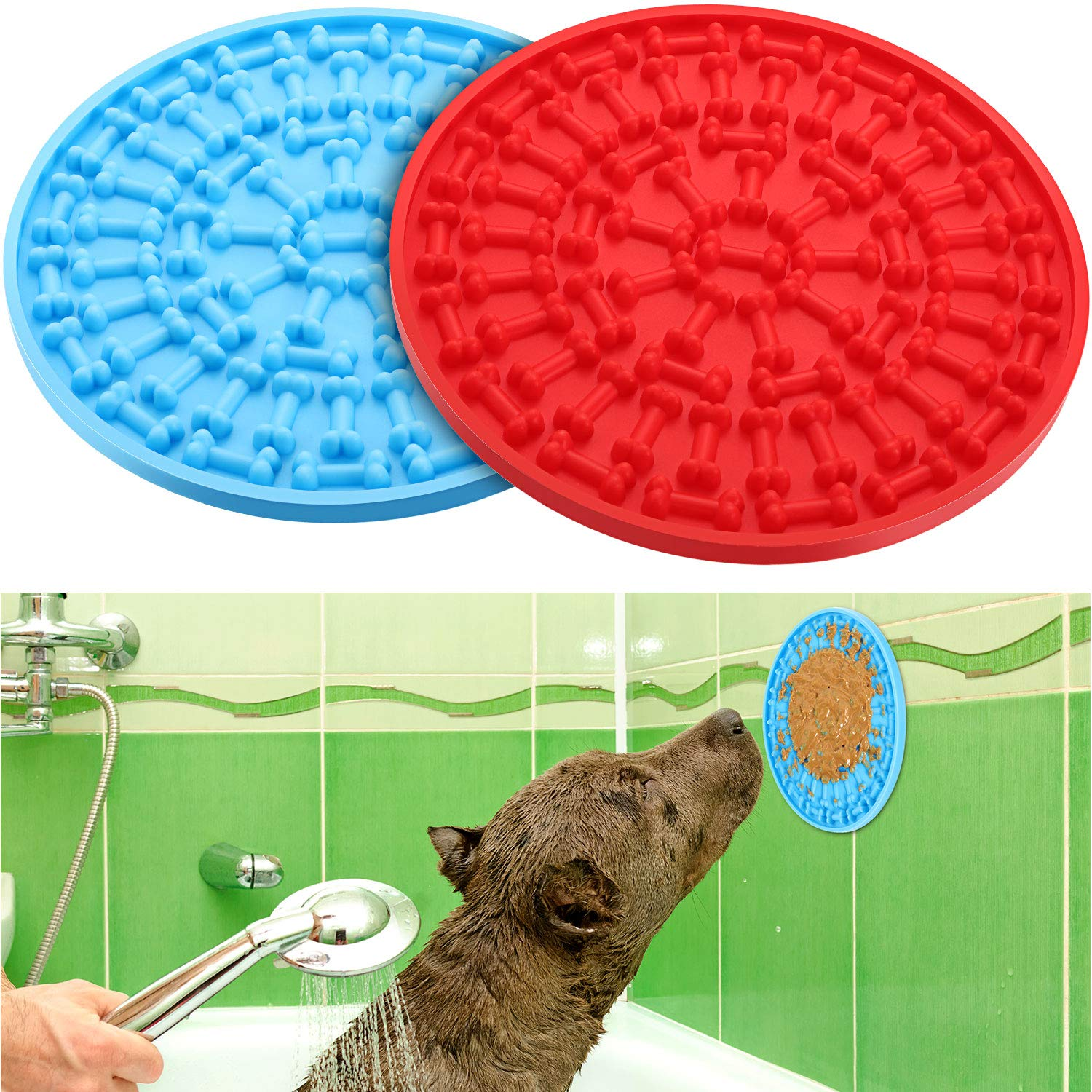 2 Pieces Dog Lick Mat Treat Dispensing Mat Dog Peanut Lick Mat Slow Feeders Distraction Device with Suction Cup to Wall for Bath Grooming (Blue and Red)