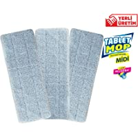 Spin Mop-Uğurlar UP686B Spin Mop Tablet Mop Midi Yedek Bezi%100 Mikrofiber (3 Adet)-