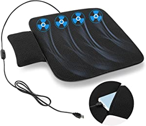 COFIT Ventilated Seat Cushion with USB Port, Breathable Air Flow Cooling Pad for Summer, Suitable for All Car Seats, Home and Office Chairs