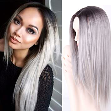Amazon aisi hair synthetic grey ombre wigs dark roots long aisi hair synthetic grey ombre wigs dark roots long straight synthetic two tone grey wigs for solutioingenieria Gallery