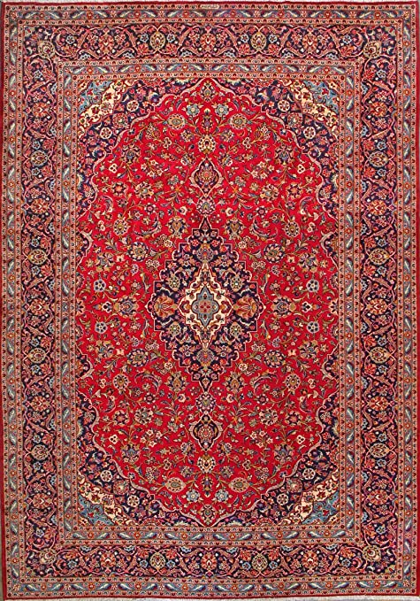 Amazon Com Armanrugs 9 9 X 14 2 Red Navy Blue Kashan Natural Wool Hand Knotted Genuine Persian Rug Kitchen Dining