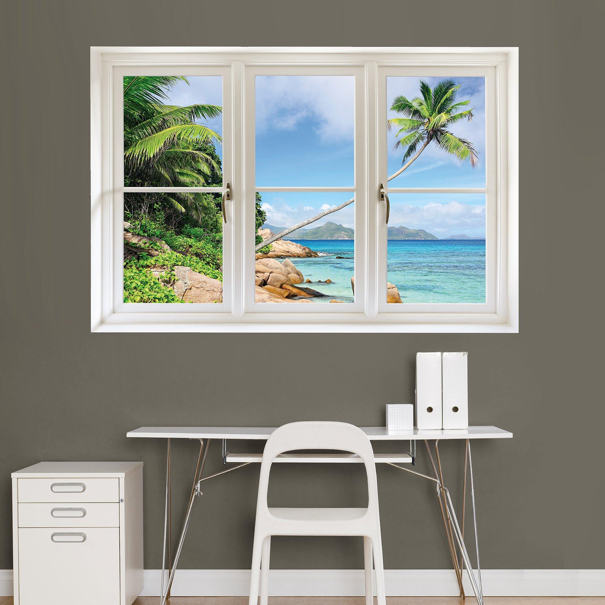 Fathead Wall Decal, ''Tropical Beach, Seychelles Instant Window''