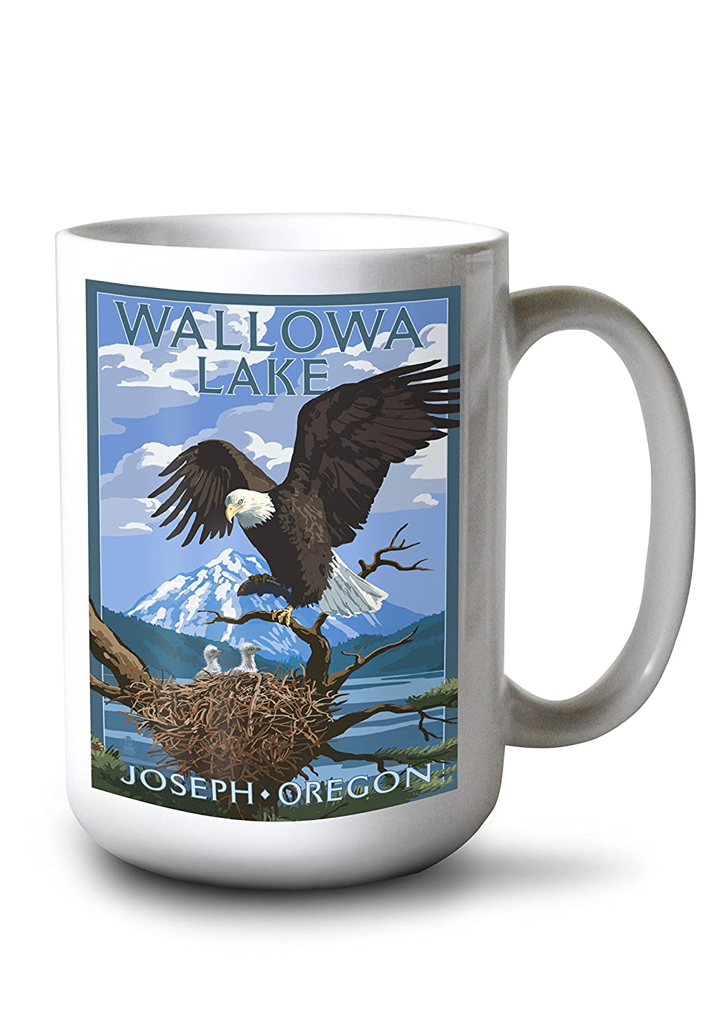 Joseph , Oregon – Wallowa湖Eagle and Chicks 15oz Mug LANT-3P-15OZ-WHT-50375 B01AYCN848  15oz Mug