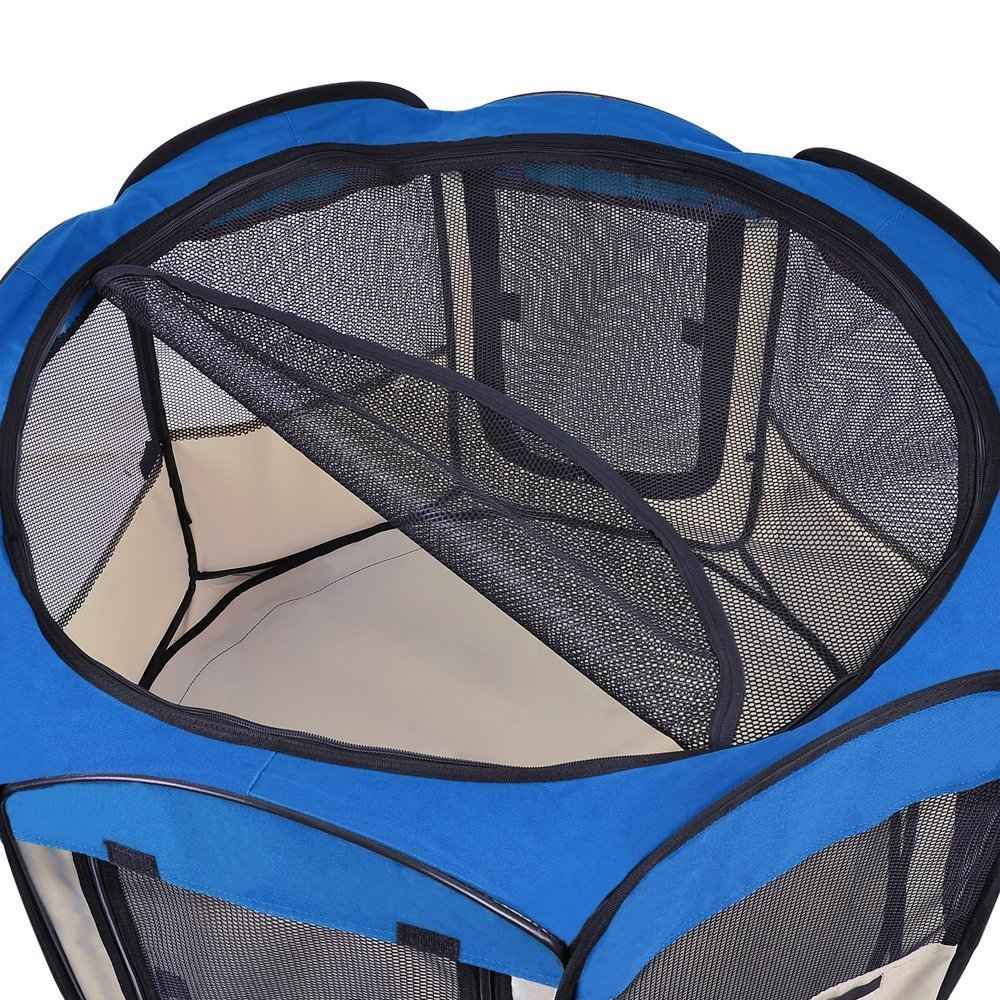 Large 48'' Dia. x 36¼'' Waterproof Soft Sided Playpen Pet Dog Puppy Exercise Canine Train Kennel Octagon Portable Pen Blue w/ Carrying Bag Black