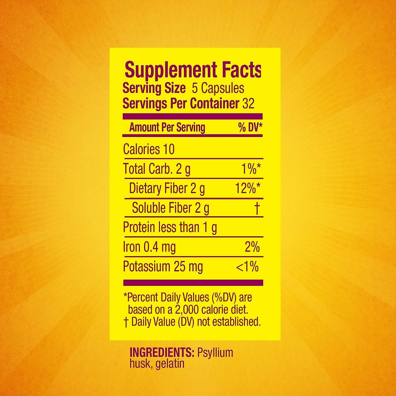 Ingredients in meta health bars - Amazon Com Metamucil Daily Fiber Supplement Psyllium Husk Capsules 160 Capsules Pack Of 2 Health Personal Care