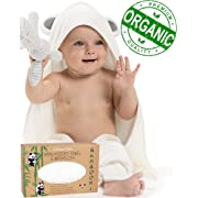 Premium Baby Hooded Towels and Washcloth Set - Organic Bamboo Hooded Baby Towel with Cute Ears - Extra Soft and Thick - Large Baby Bath Towel with Hood for Boy or Girl | Newborn Infant and Toddler