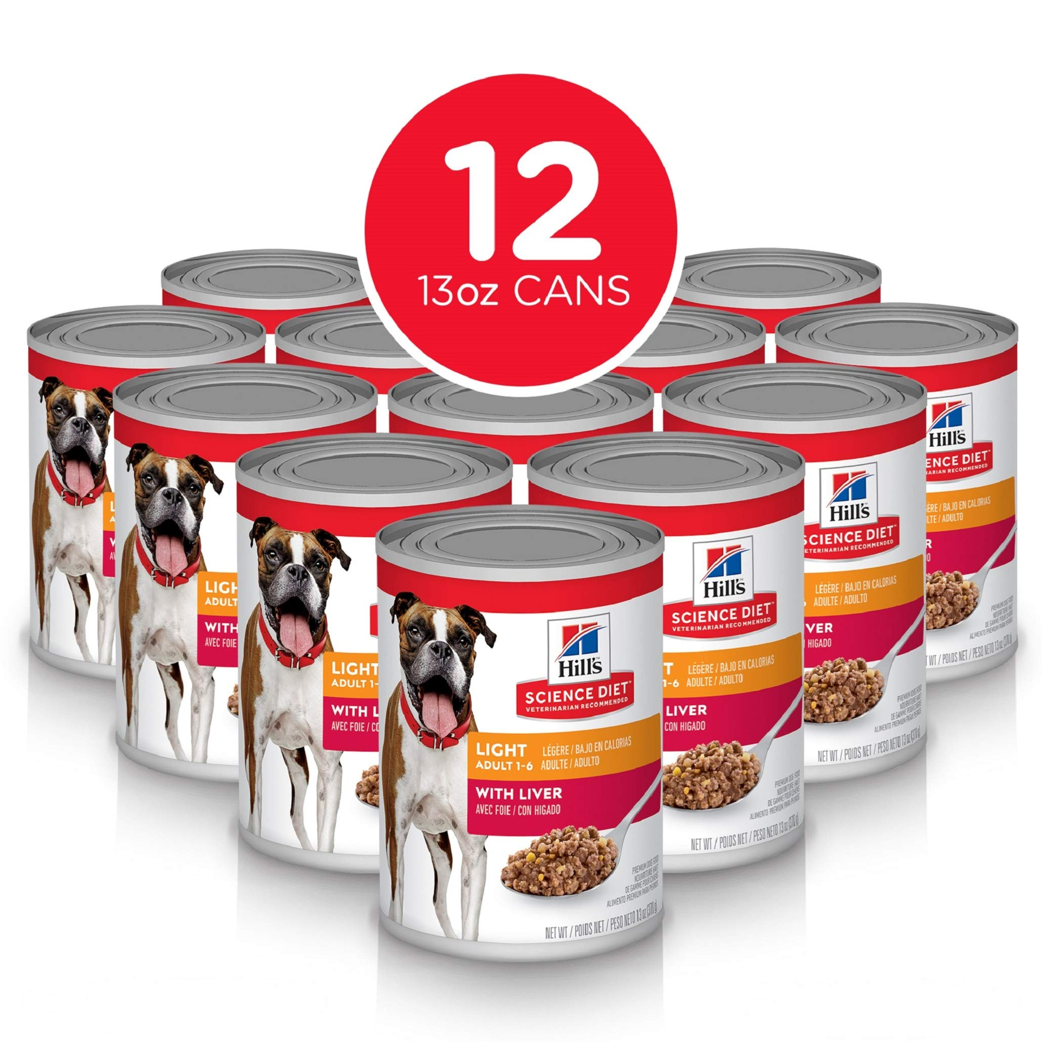 Hill's Science Diet Wet Dog Food, Adult, Light for Weight Management, Liver Recipe, 13 oz Cans, 12-pack by Hill's Science Diet