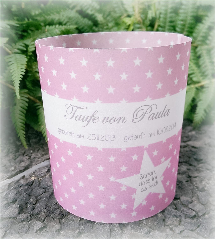 4er Set Tischlicht Tischlichter Sterne Taufe Tischdeko personalisierbar rosa