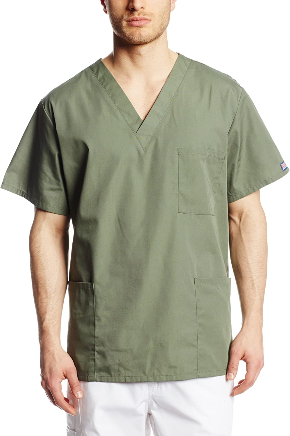 Cherokee Big and Tall Originals Unisex V-Neck Scrubs Top, Olive, XX-Large: Medical Scrubs Shirts: Clothing