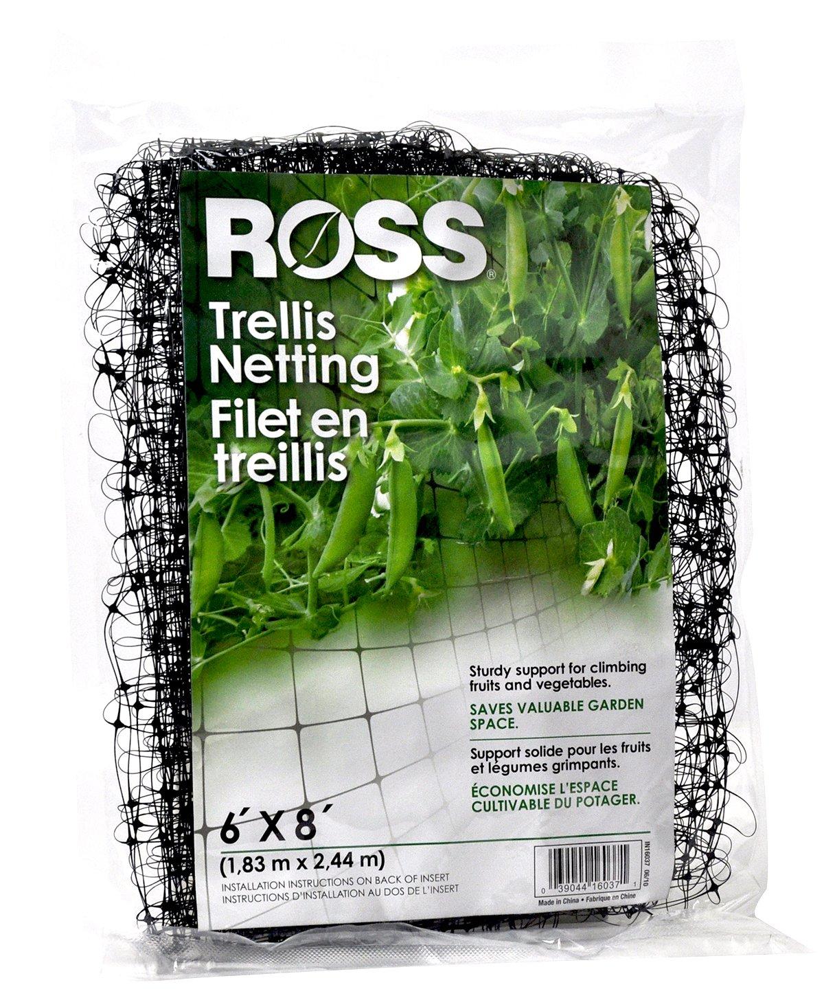 Ross Trellis Netting (Support for Climbing, Fruits, Vegetables and Flowers) Black Garden Netting, 6 feet x 8 feet (16037)