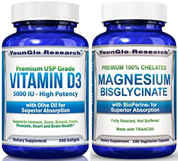 Vitamin D3 & Magnesium Bundle - Vitamin D3 5000 IU Plus Chelated Magnesium Glycinate (1