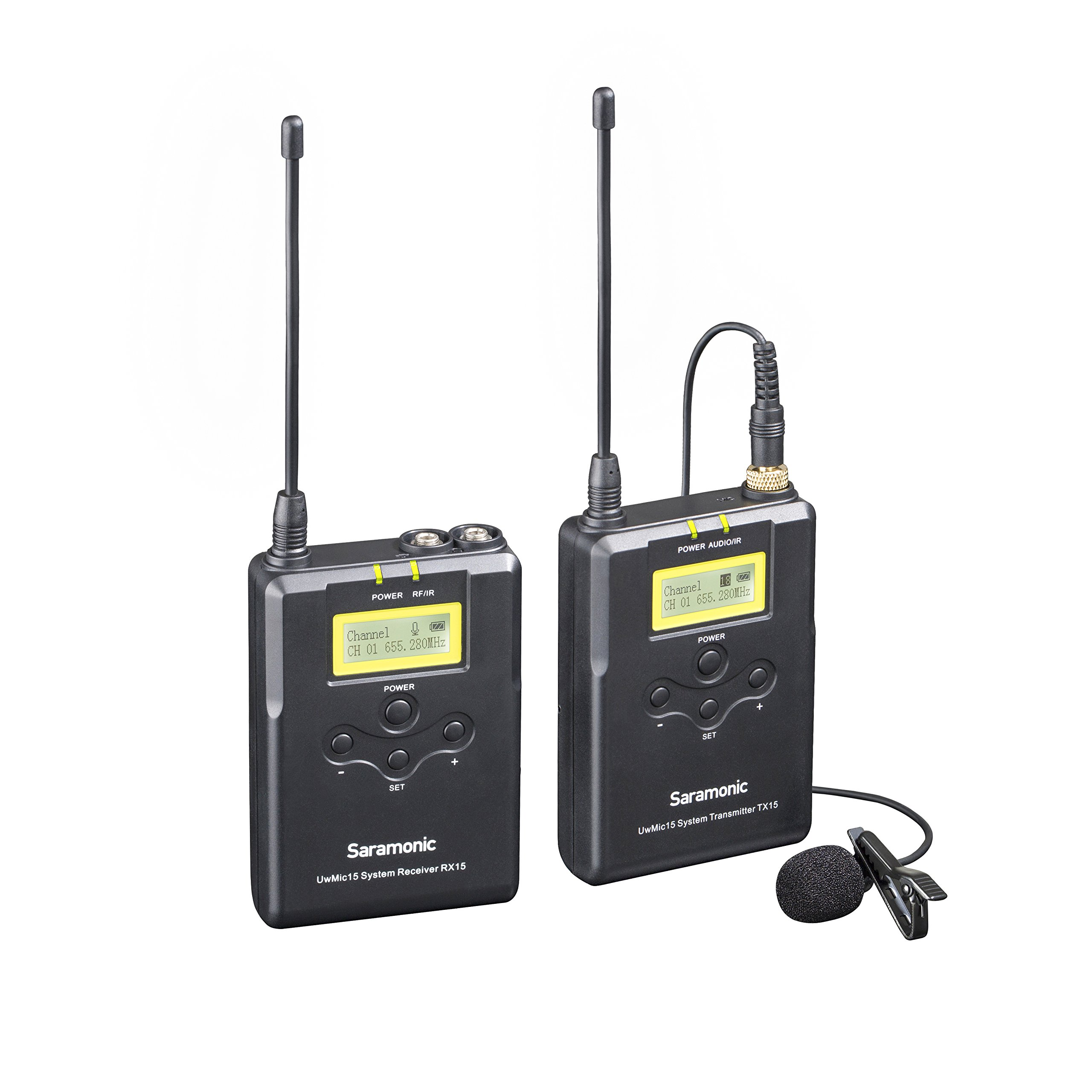 Saramonic UwMic15 16-Channel Digital UHF Wireless Lavalier Microphone System, Includes TX15 Bodypack Transmitter and RX15 Portable Receiver by Saramonic