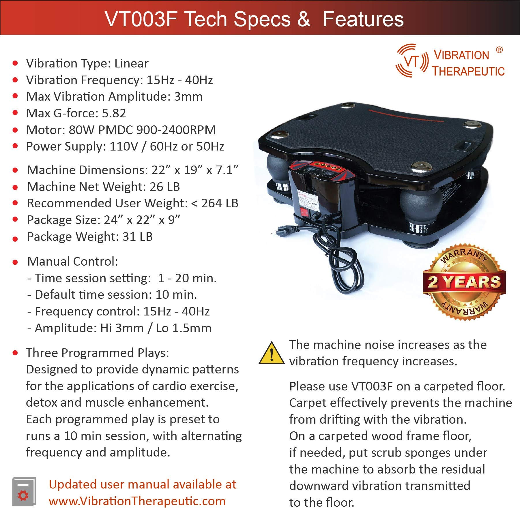 VT High Frequency Linear Vibration Plate Machine, Deep Tissue Vibration 15-40 Hz, Fitness and Therapy, Model VT003F by VT VIBRATION THERAPEUTIC (Image #2)