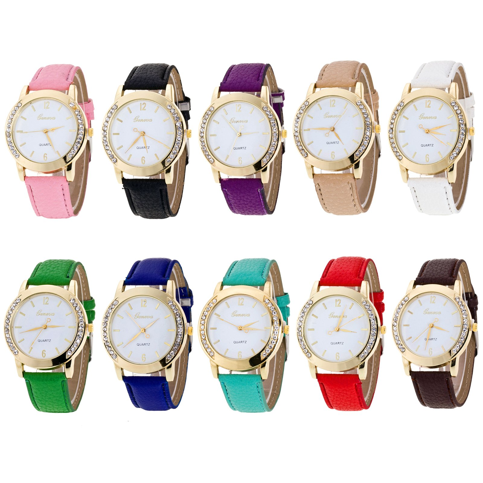 Geneva Women's Wholesale 10 Pcs Wholesale Women Watches Leather Rhinestone Inlaid Quartz Jelly Dress Wristwatch (10PACK)