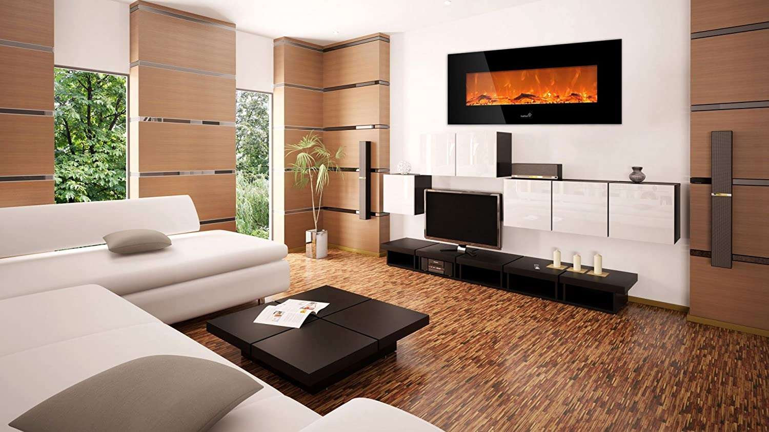 ivation 50 u201d wall mounted electric fireplace with built in 1500