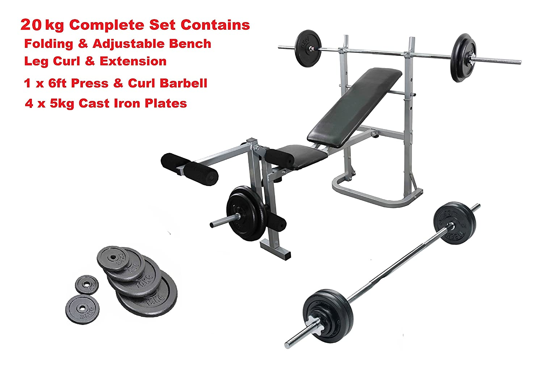 Banco de entrenamiento con pesas Multi Gym con extensión de patas + 6 ft Bar + 25 kg pesas de hierro fundido juego de levantamiento de peso: Amazon.es: ...