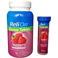 ReliOn Glucose, 50 Tablets with On-The-Go Tube, 10 Tablets. (Raspberry) by Reli On