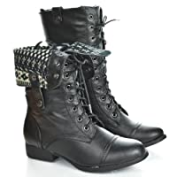 Round Toe Lace Up Two Way Foldable Fold-over Collar Military Combat Boots