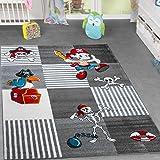 Tapis pour enfant monde Boîte à Trésor Pirate Perroquet salle de jeu à carreaux gris anthracite, 80 x 150 cm