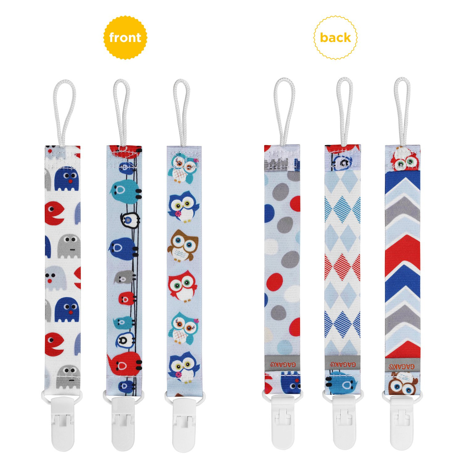 Multicoloured GAGAKU 3 PCS Dummy Clips Pacifier Holder for Girls and Boys