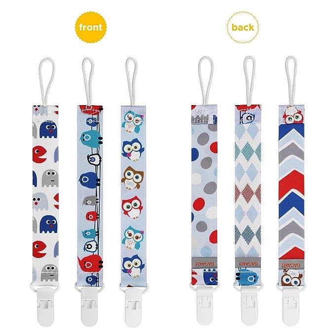 GAGAKU 3 Pack Chupete Cadenas Mordedor con Soporte Universal de Chupete Clip Soporte Para Niñas y Niños - Azul