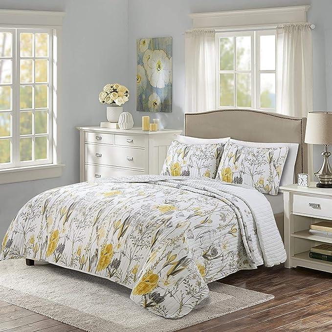Lush Decor Adalia 3 Piece Yellow Gray Quilt Set King Home Kitchen Amazon Com
