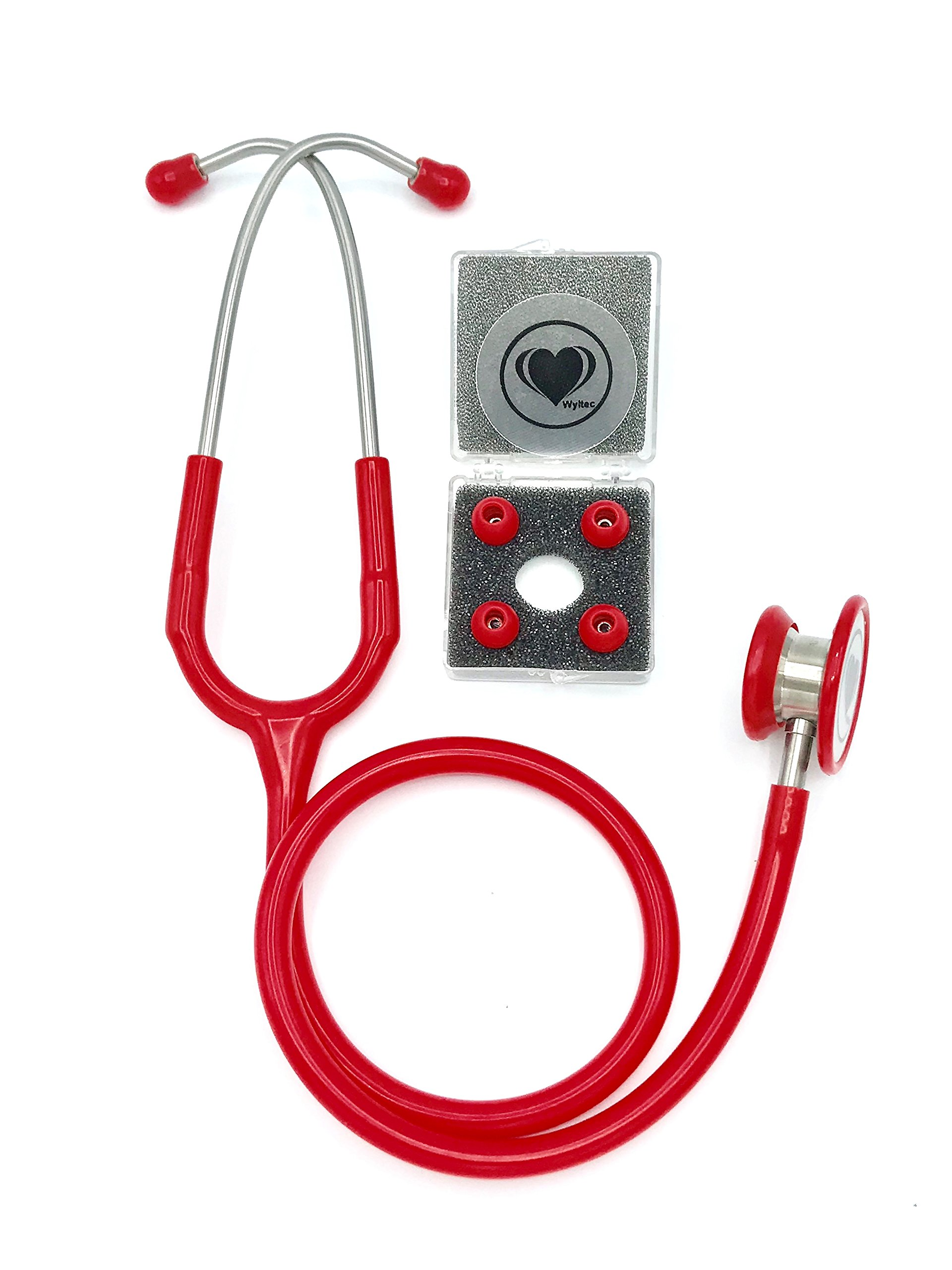 Wyltec Premium Stainless Steel Stethoscope - Dual Head - Chestpiece and binaurals, Offering Superior Clear Sound Transmission - Non-chill Rings, and Quality Diaphragm - Soft eartips (Red)