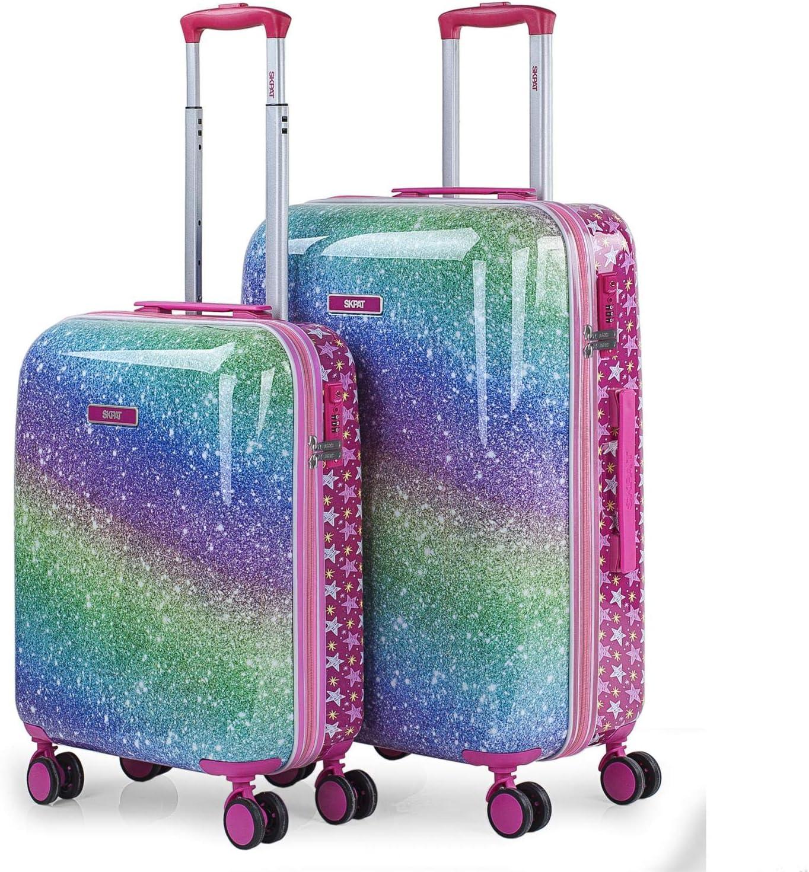SKPAT - Juego de Maletas de Viaje rígidas 4 Ruedas Trolley 55/67 cm policarbonato Estampado. s y Ligeras. candado Integrado. pequeña 55x40x20 y Mediana 131300, Color Fucsia