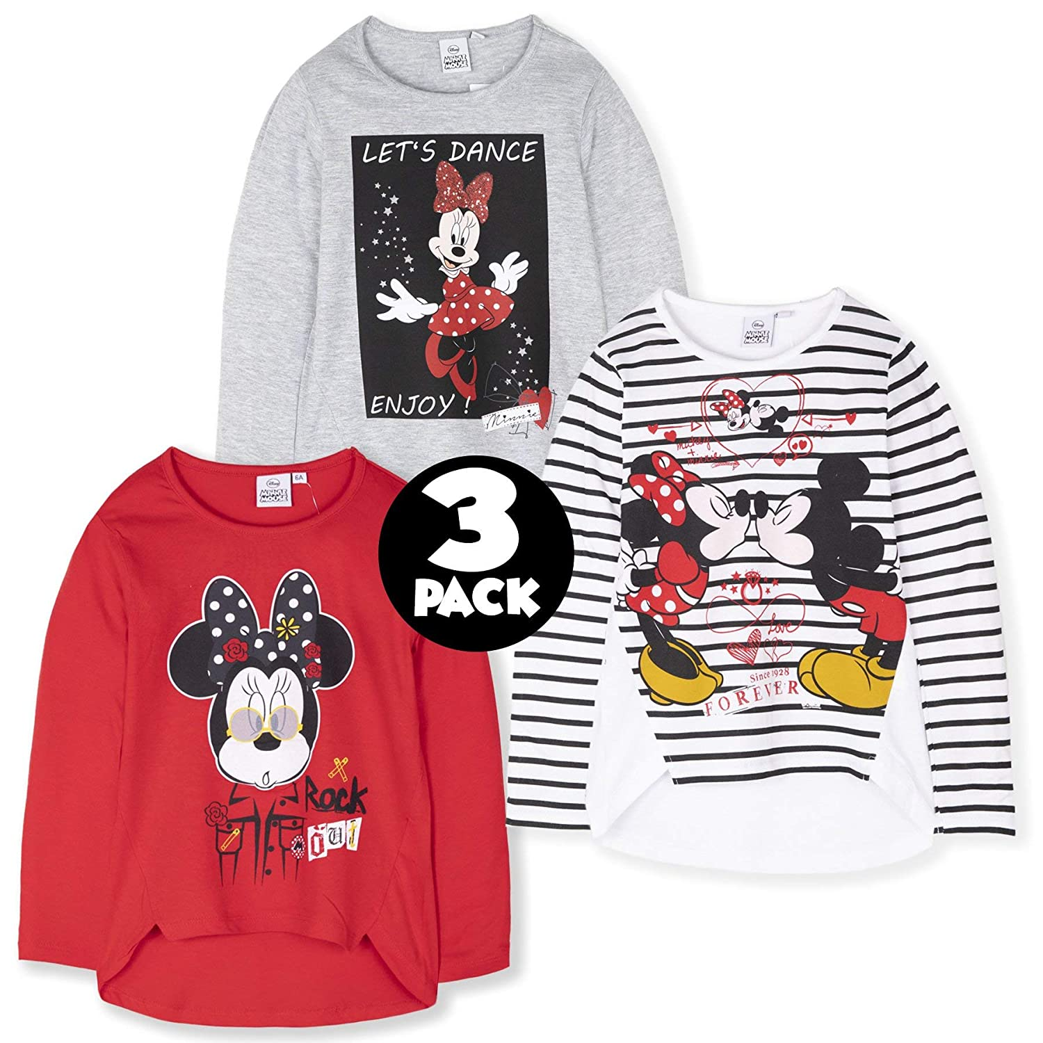 Disney Mickey Minnie Mouse 3-Pack 100/% Cotton Minions Multi Pack of Licensed Long Sleeve Character Tops for Boys Girls 2-Pack Frozen Paw Patrol
