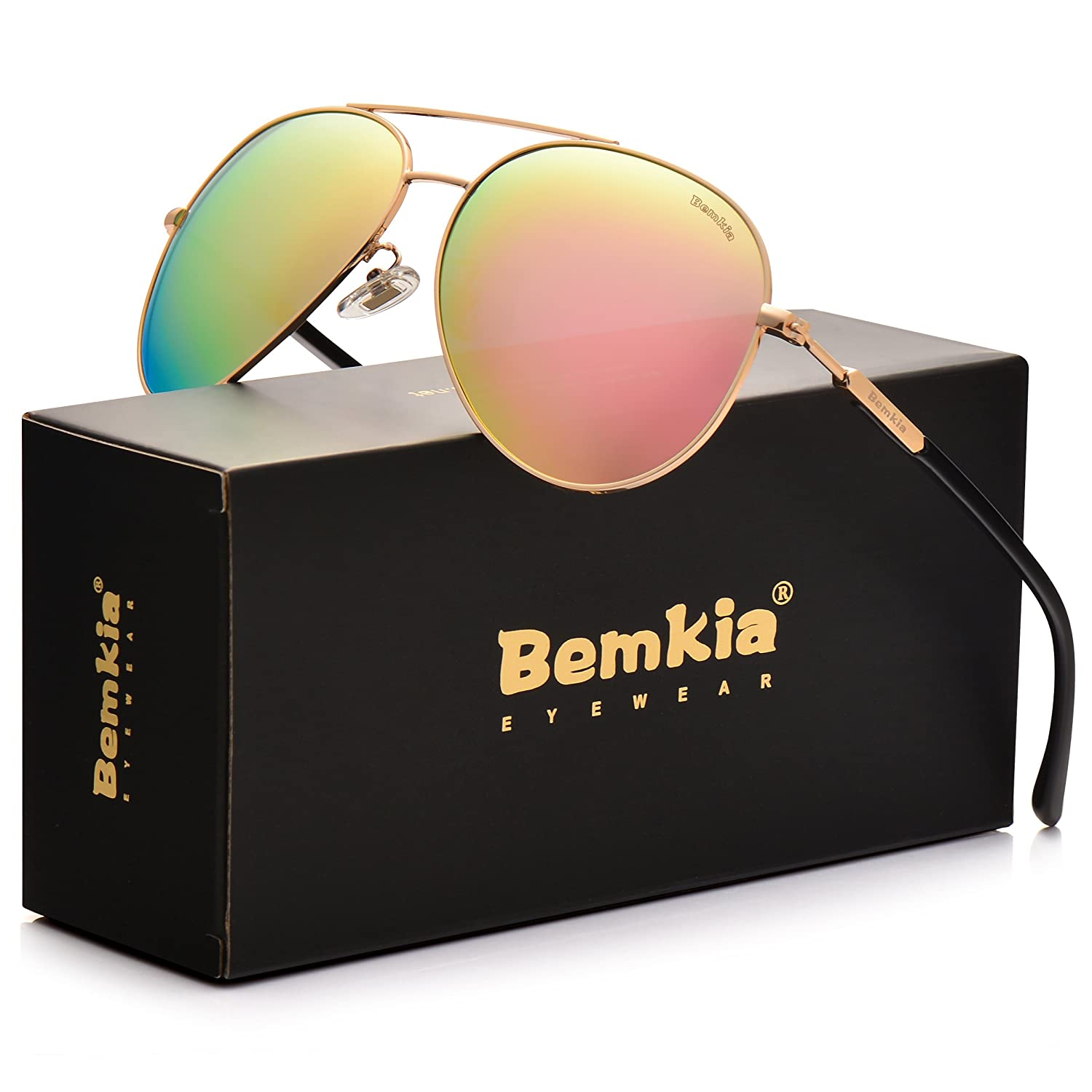Bemkia Aviator Polarized Sunglasses Men Women 60mm Len Shades Metal Frame UV400