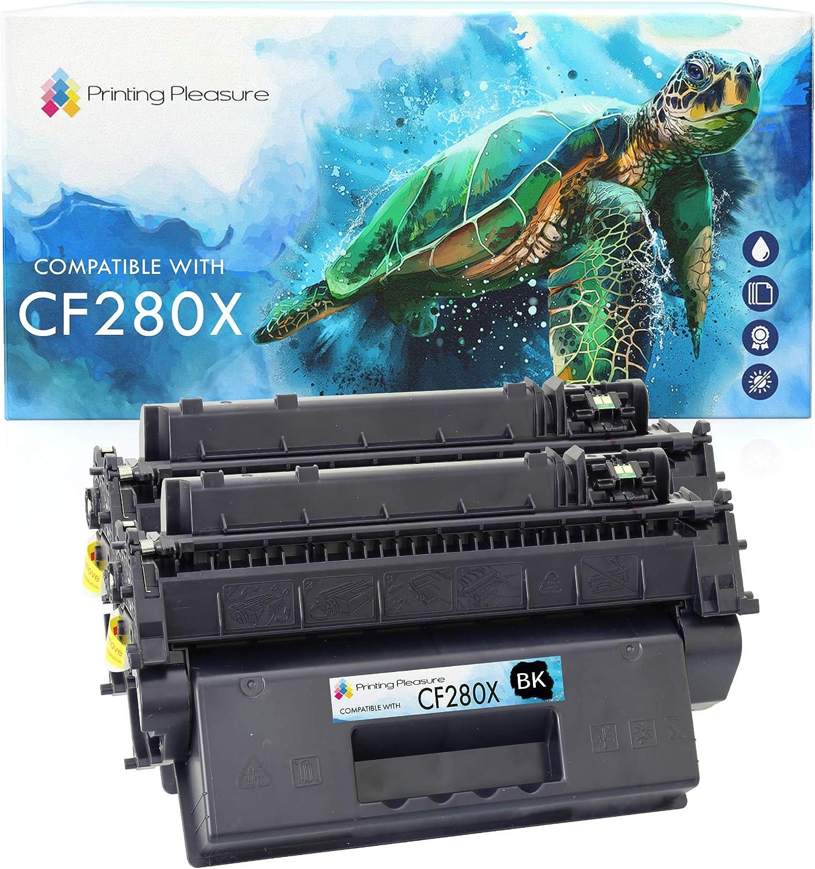 Printing Pleasure CF280X 2 Toner Cartridges Compatible for HP Laserjet Pro 400 M401A M401D M401DN M401DNE M401DW M401N MFP M425DN MFP M425DW