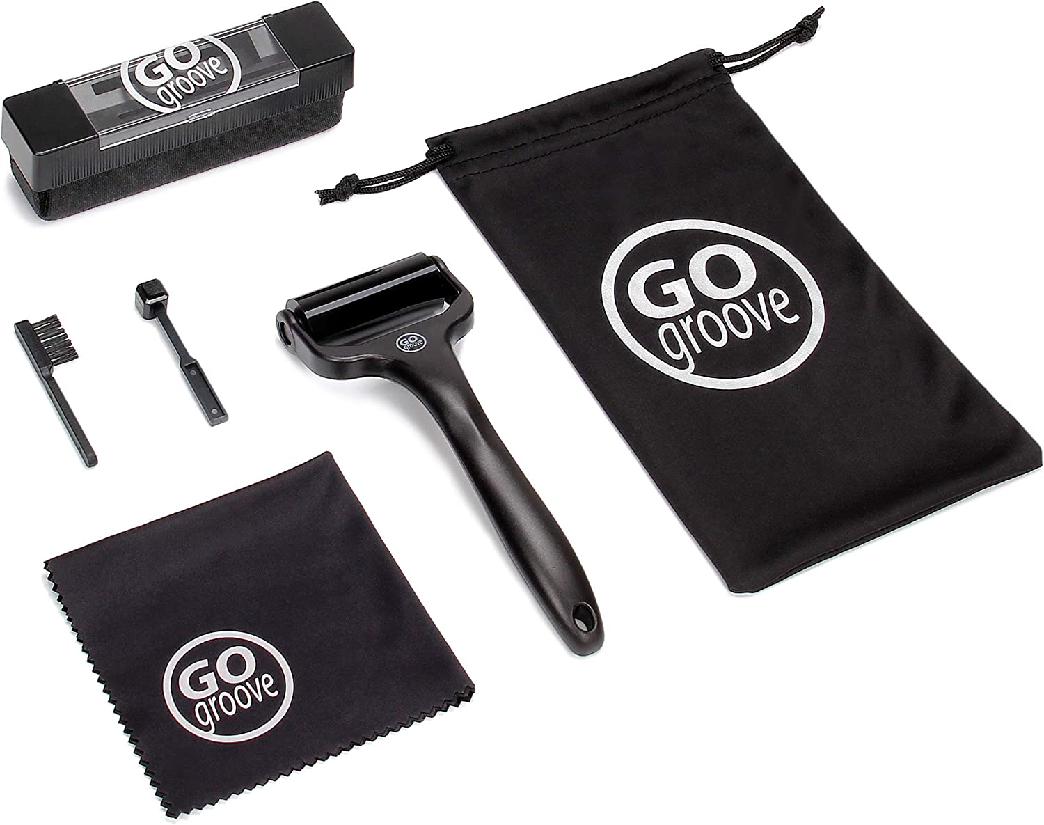 GOgroove 6-in-1 Vinyl Record Cleaner Kit - Deep Cleaning Velvet Brush for Record Player, Silicone Roller, Stylus Brush Cleaner, Repair Whisk, Microfiber Cleaning Cloth and Drawstring Travel Pouch