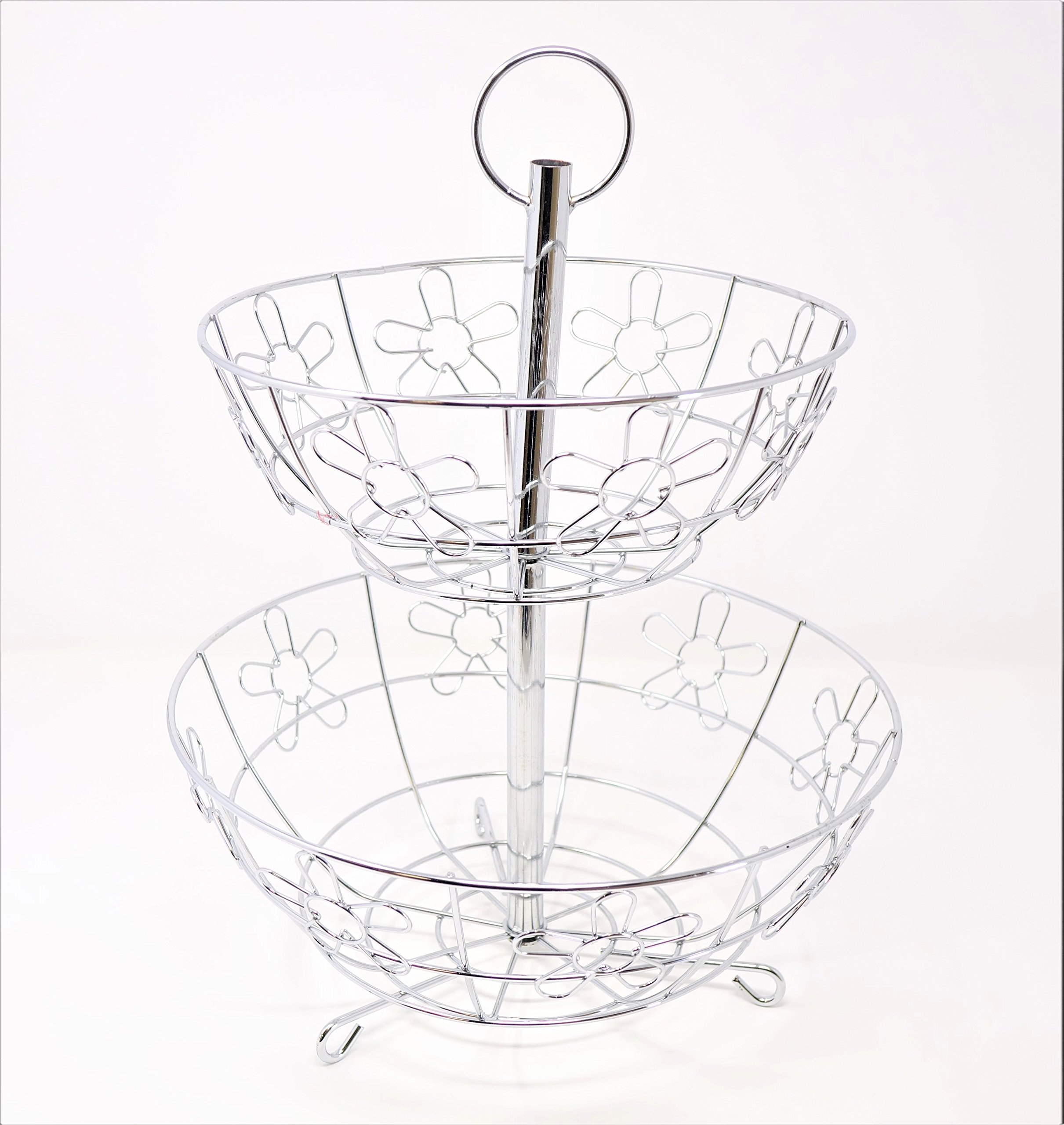 New Home Deal Stainless Steel Collapsible Multi Tiered Fruit Basket (2 Tier, Flower)