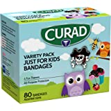 CURAD Just for Kids Bandages, 4 Fun Themes, Colorful, All-Purpose Protection Plastic Bandages, 4-Sided Seal, Variety of Sizes