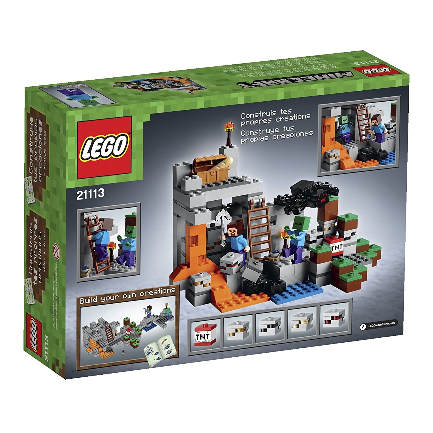 Lego 21113 the cave playset with minecraft hostile mobs by unknown amazon de spielzeug