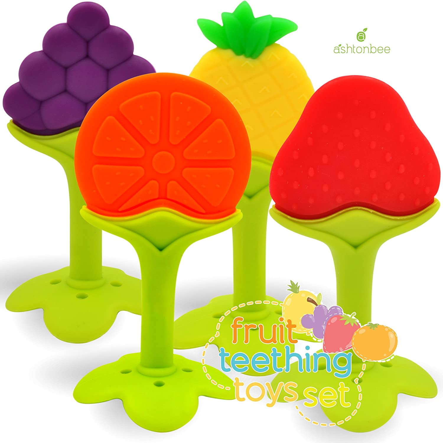Amazon Baby Teether Toys 4 Pack Soft Silicone Fruit