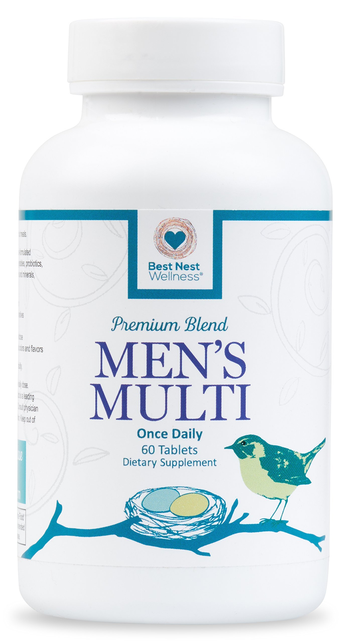 Best Nest Men's Multi | Methylfolate, Methylcobalamin (B12), Multivitamins, Probiotics, Made with 100% Natural Whole Food Organic Blend, Once Daily Multivitamin Supplement, 60 Tablets