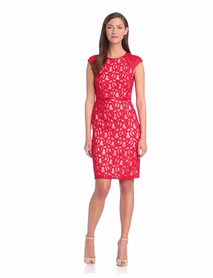 Adrianna Papell Womens Tonal Piped Lace Dress