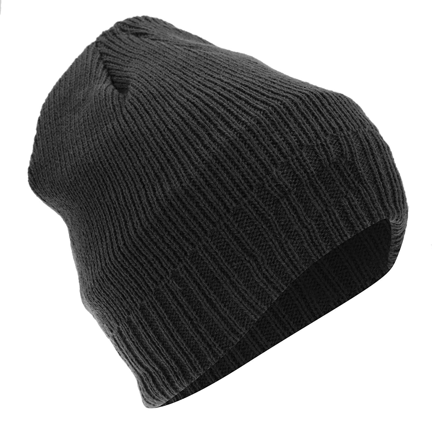 ca421050141 Floso® Mens Thinsulate Knitted Thermal Beanie Winter Ski Hat With Inner  Lining (3M 40g) (One Size Fits All) (Black)  Amazon.co.uk  Clothing