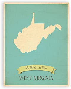 Nursery Decor, My Roots West Virginia Personalized Wall Map 11x14, Kid's West Virginia Map Wall Art, Children's West Virginia Vintage State Map, WV Wall Art Print