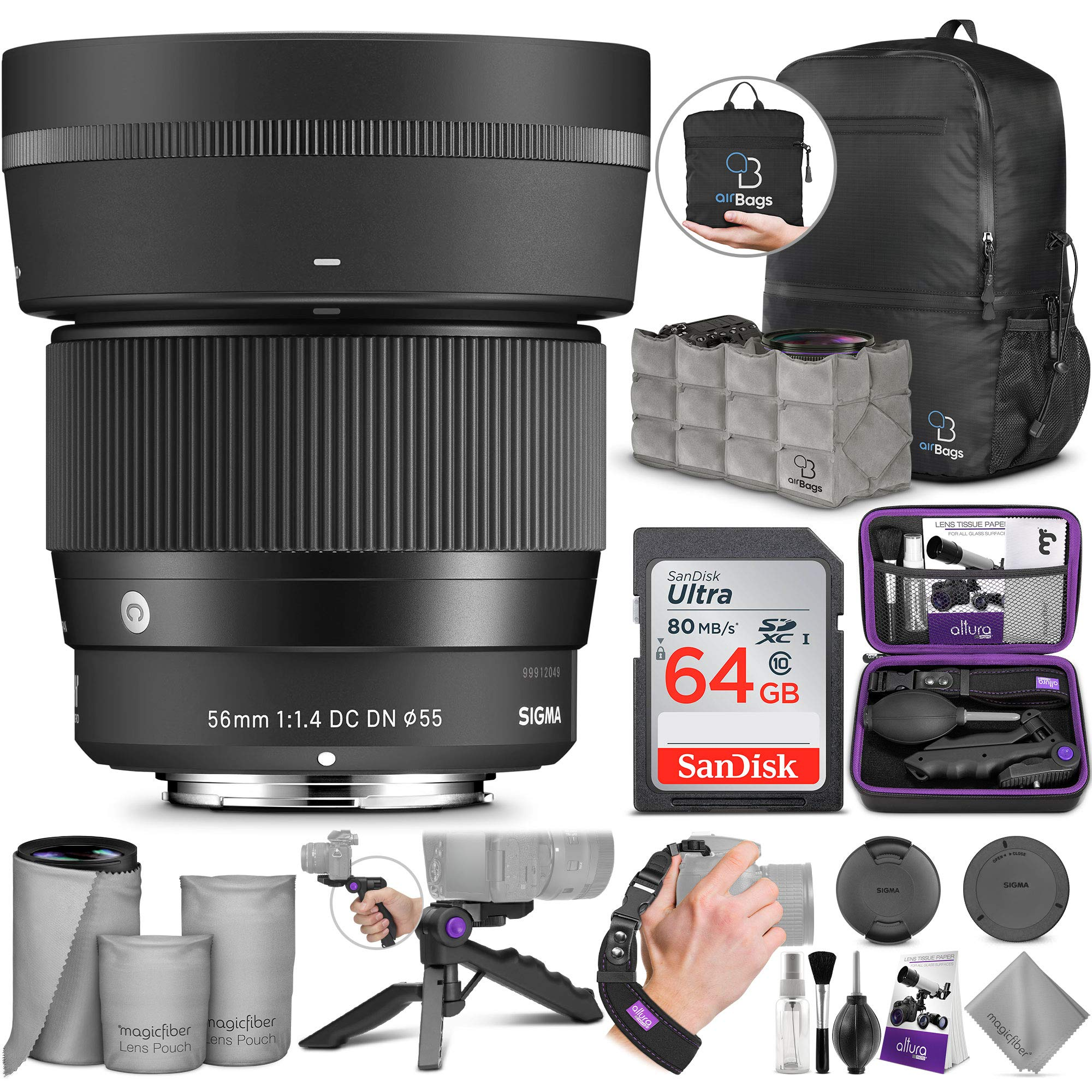 Sigma 56mm f/1.4 DC DN Contemporary Lens for Sony E with Altura Photo Advanced Accessory and Travel Bundle by Sigma
