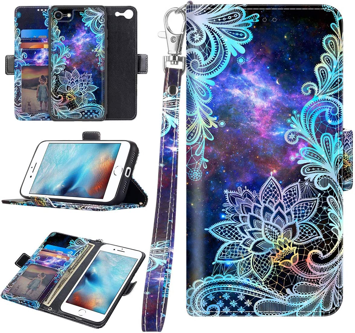 Casetego for iPhone 8 Case,iPhone 7 Case,Detachable Magnetic Wallet Case PU Leather Full Body Protective Case with Credit Card Holders, Wrist Strap for Apple iPhone 8/7,Blue Mandala