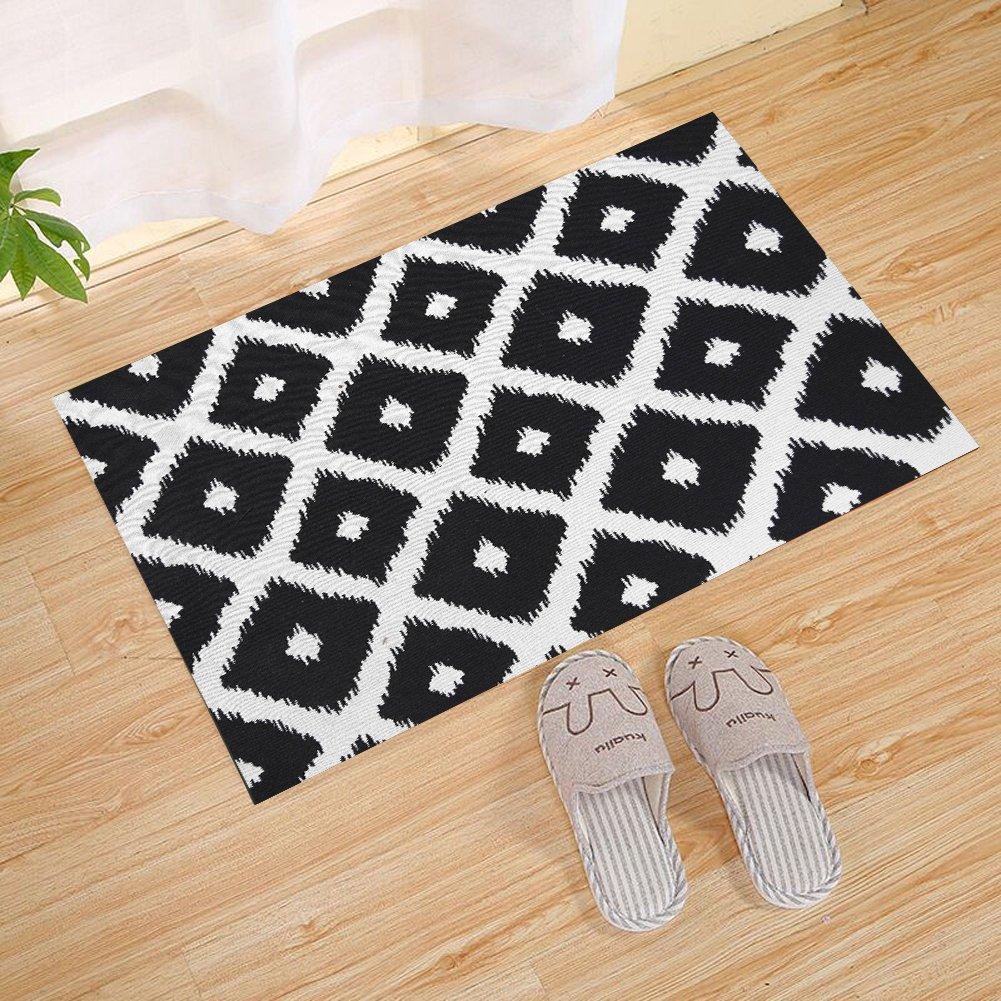 JANNINSE Abstract Geometric Zig Zag Cross Plaid Black And White Stripes Door Mat, Polyester Fiber Entry Carpet Shoe Scraper Super Grip Rubber Backing Slip