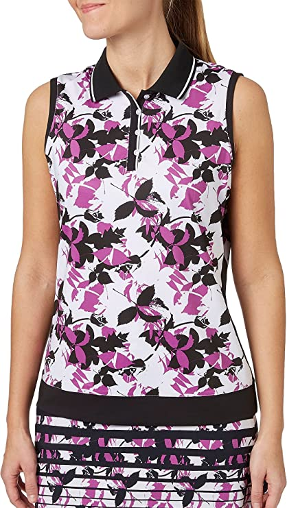 9185834bd85 Lady Hagen Women s Twilight Collection Floral Printed Sleeveless Golf Polo ( White