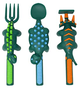 Constructive Eating Dinosaur Utensil Set for Toddlers, Infants, Babies and Kids - Flatware Toys are Made in The USA with FDA Approved Materials for Safe and Fun Eating