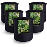 MAXSISUN 5-Pack 3 Gallon Plant Grow Bags, Heavy Duty Thickened Non-Woven Aeration Fabric Pots Container with Reinforced…