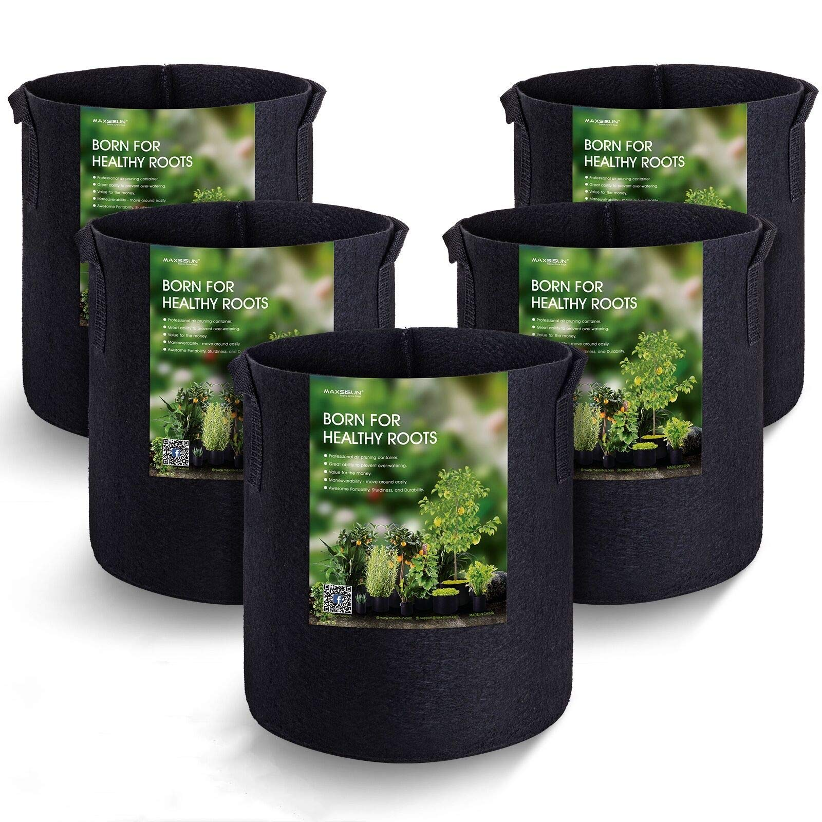 Thickened Nonwoven Aeration Fabric Pots Container with Heavy Duty Durable Handles for Garden Indoor Plants VIPARSPECTRA 6-Pack 15 Gallon Grow Bags