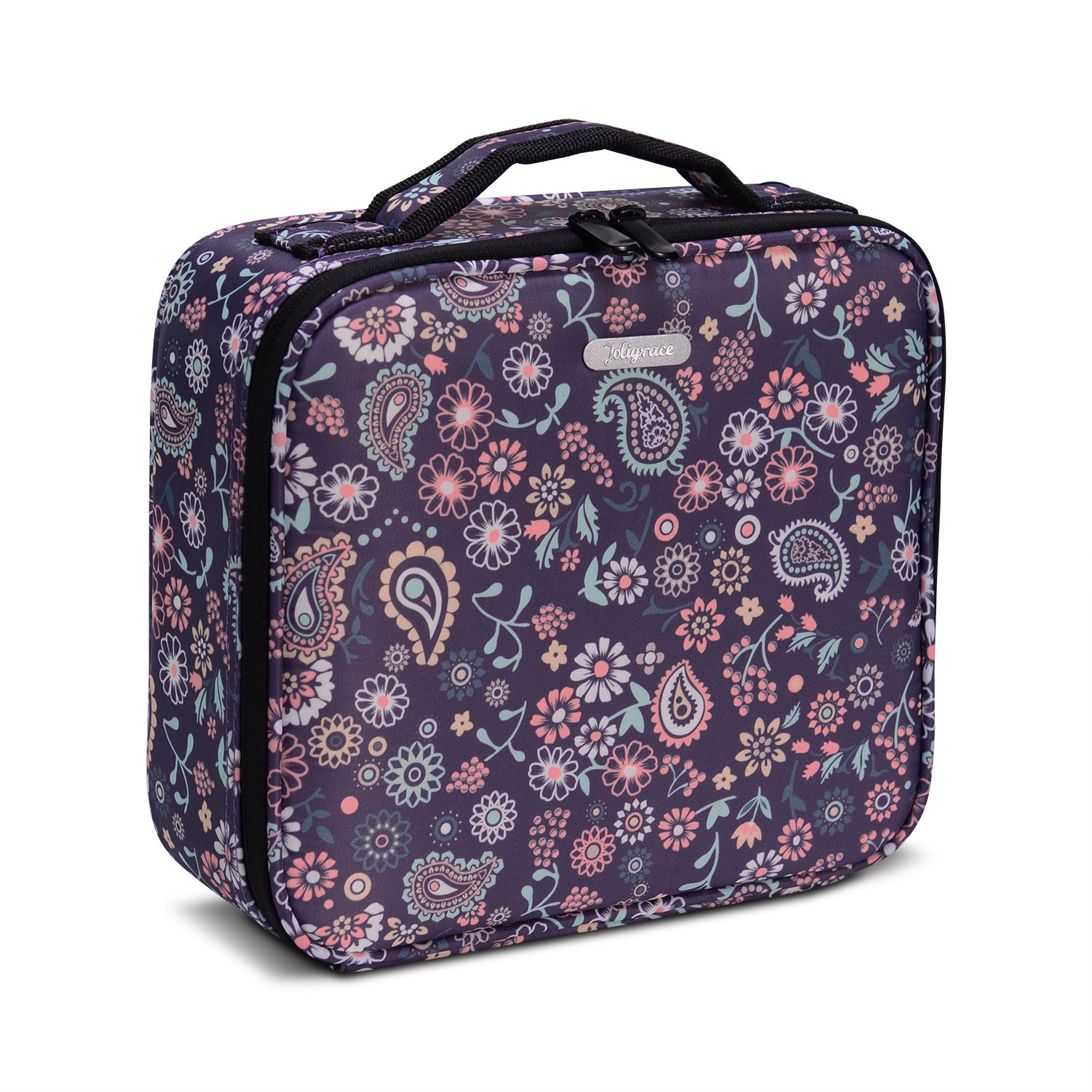 JOLIGRACE Portable Makeup Train Case Travel Size Cosmetic Bag Organizer with Brush Holder Pockets and Removable Dividers for Makeup Artist (Purple Floral)