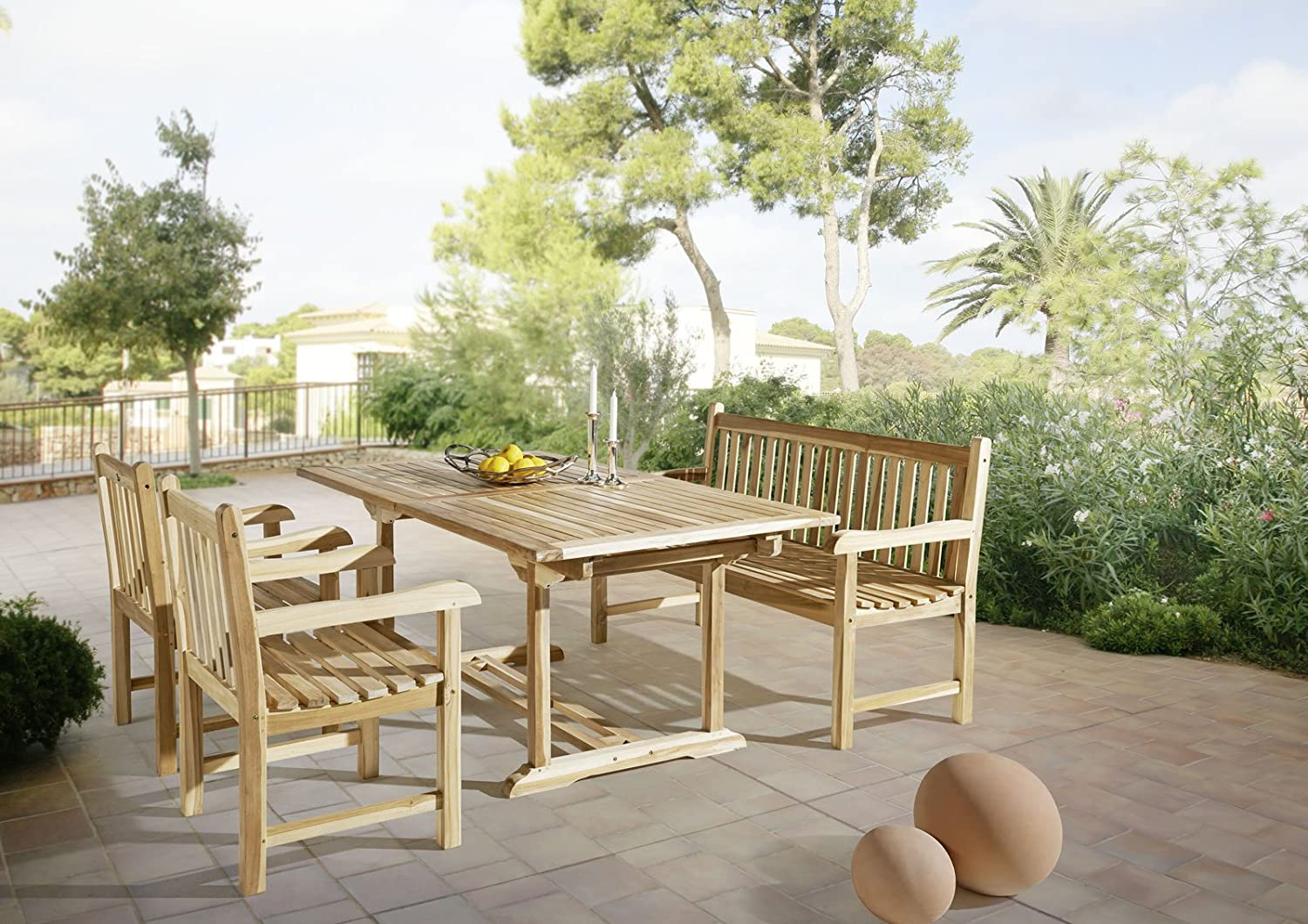 sam gartengruppe 4 teilig gartenm bel aus teak holz mit 2 x garten sessel und 1 x garten. Black Bedroom Furniture Sets. Home Design Ideas